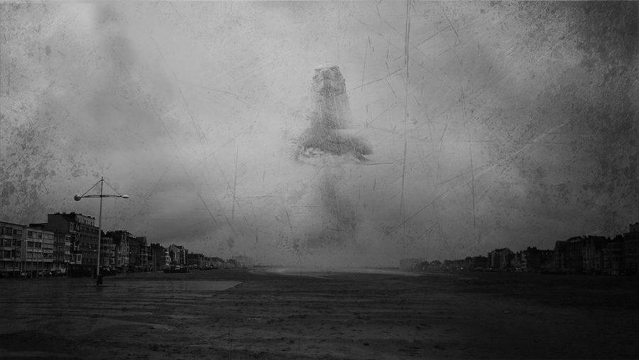 Godzilla monster walking near dunkerque